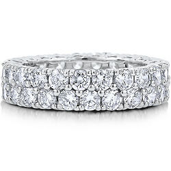 Sterling Silver 2-Row Round Cubic Zirconia Eternity Band