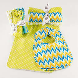 Blue and Yellow Patterned Baby Meal Time Gift Set