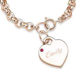 July Engraved Birthstone Heart Charm Bracelet