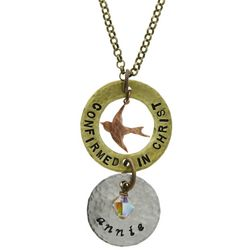 Personalized Confirmed In Christ Dove Pendant