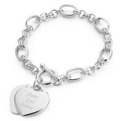 Personalized Classic Double Heart Toggle Bracelet