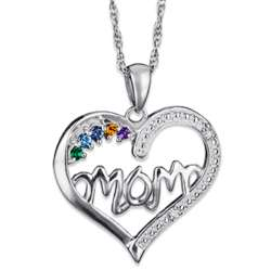 Sterling Silver Mother's Birthstone Heart and Diamond Pendant