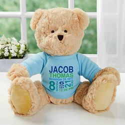 Baby Boy's Teddy Bear with Personalized Birth Info