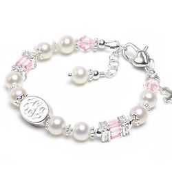 Engraved Heavenly in Pink Swarovski Crystals and Pearl Bracelet