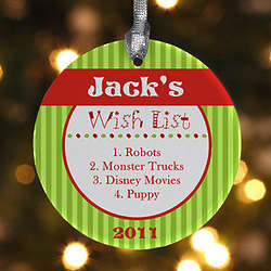 Personalized Gift Wishlist Christmas Ornament