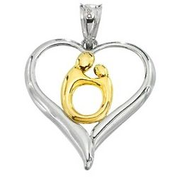 Two Tone Mother and Child Heart Pendant