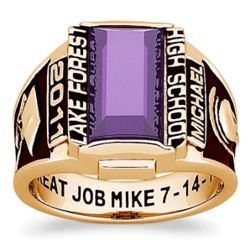Men's 18K Gold Over Sterling Rectangular Traditional Class Ring