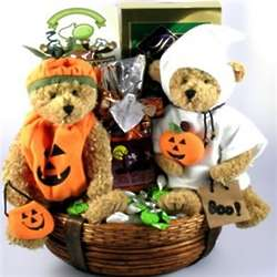 Halloween Teddy Bear Duo and Treats Gift Basket