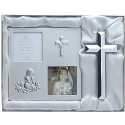 Silver First Communion Frame and Cross Gift Box