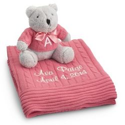 Raspberry Knit Blanket and Bear Set