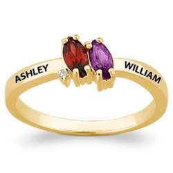 Gold Over Sterling Couple's Marquise Birthstone Name Ring