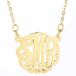 "Mini Monogram Gold Necklace on 16"" Chain"
