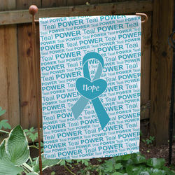 Personalized Teal Awareness Ribbon Garden Flag