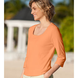 Three-Quarter Sleeved Square Neck Tee