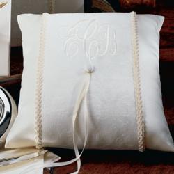 Brocade Monogram Ring Pillow