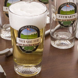 Personalized 19th Hole Beer Glass Set