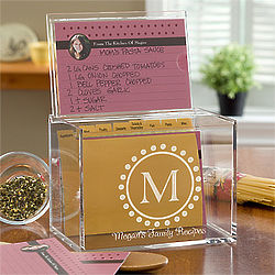 Personalized Monogrammed Recipe Box
