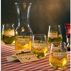 Personalized Wine Delights the Soul Goblets & Carafe Set