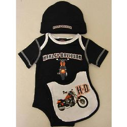 Newborn Boys Harley Davidson Black Bodysuit Gift Set