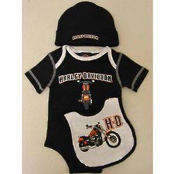 Newborn Boys Harley Davidson Black Bodysuit Gift Set