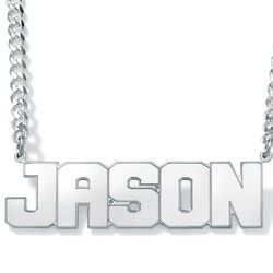 Men's Sterling Silver Nameplate Necklace