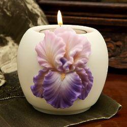 Purple Bearded Iris Votive Candle Holder
