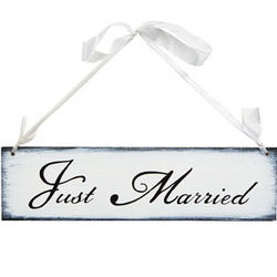 Just Married Sign with Ribbon Hanger