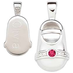 Sterling Silver July Engraved Birthstone Bootie Charm