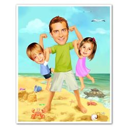 Dad and Kids on Beach Caricature