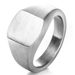 Cushion Signet Ring in Brushed Stainless Steel