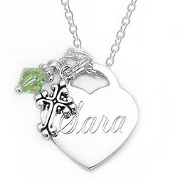 Personalized 19mm Heart Pendant with Birthstone Charm Necklace