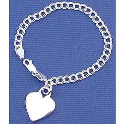 Engraved Sterling Silver Heart Charm Bracelet