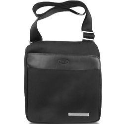 Pininfarina Black Nylon and Leather Messenger Bag