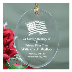 In Loving Memory Personalized Military Memorial Glass Ornament
