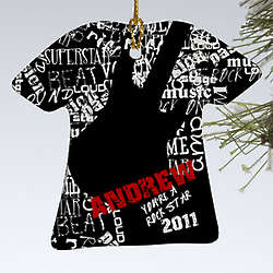 Rock On Guitar T-Shirt Personalized Christmas Ornament