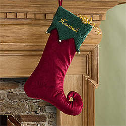 Personalized Burgundy Harlequin Christmas Stocking