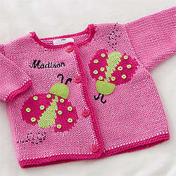 Personalized Ladybug Love Embroidered Hand-Knit Sweater
