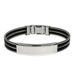 Men's Triple Row Cable and Rubber ID Bracelet