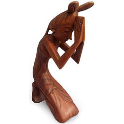 Praying Woman Wood Statuette