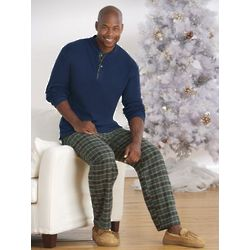 Men's 2-Piece Blue Plaid Lounge Set