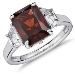 Sterling Silver Garnet and White Topaz Radiant Cut Ring