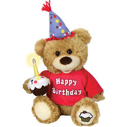 Happy Birthday Singing Bear with Light Up Cupcake