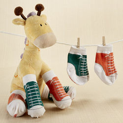 Herbie in Hightops Plush Giraffe with 2 Pair of Baby Socks