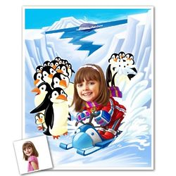 Personalized Caricature Sled with Penguins Art Print