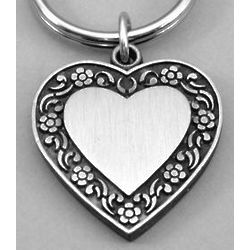 Engravable Pewter Heart with Floral Inlay Keyring