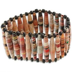 The News is Beige Recycled Paper Bracelet