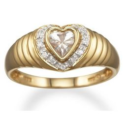 April Birthstone Heart Promise Ring in 14K Gold