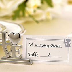 Silver Love Place Card Holders