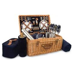 Windsor English Style Suitcase Picnic Basket with Service for 4