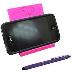 iPhone 4 iClooly Stylus & Hot Pink Tiko Folding Travel Stand